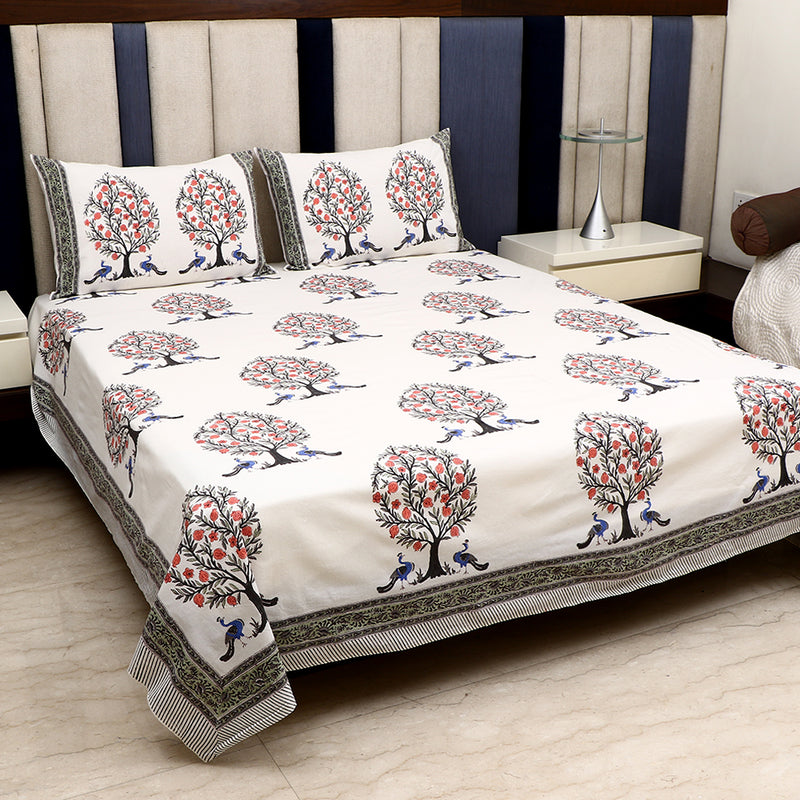 Cotton Bed Sheet - Peacock Series White with Grey Border