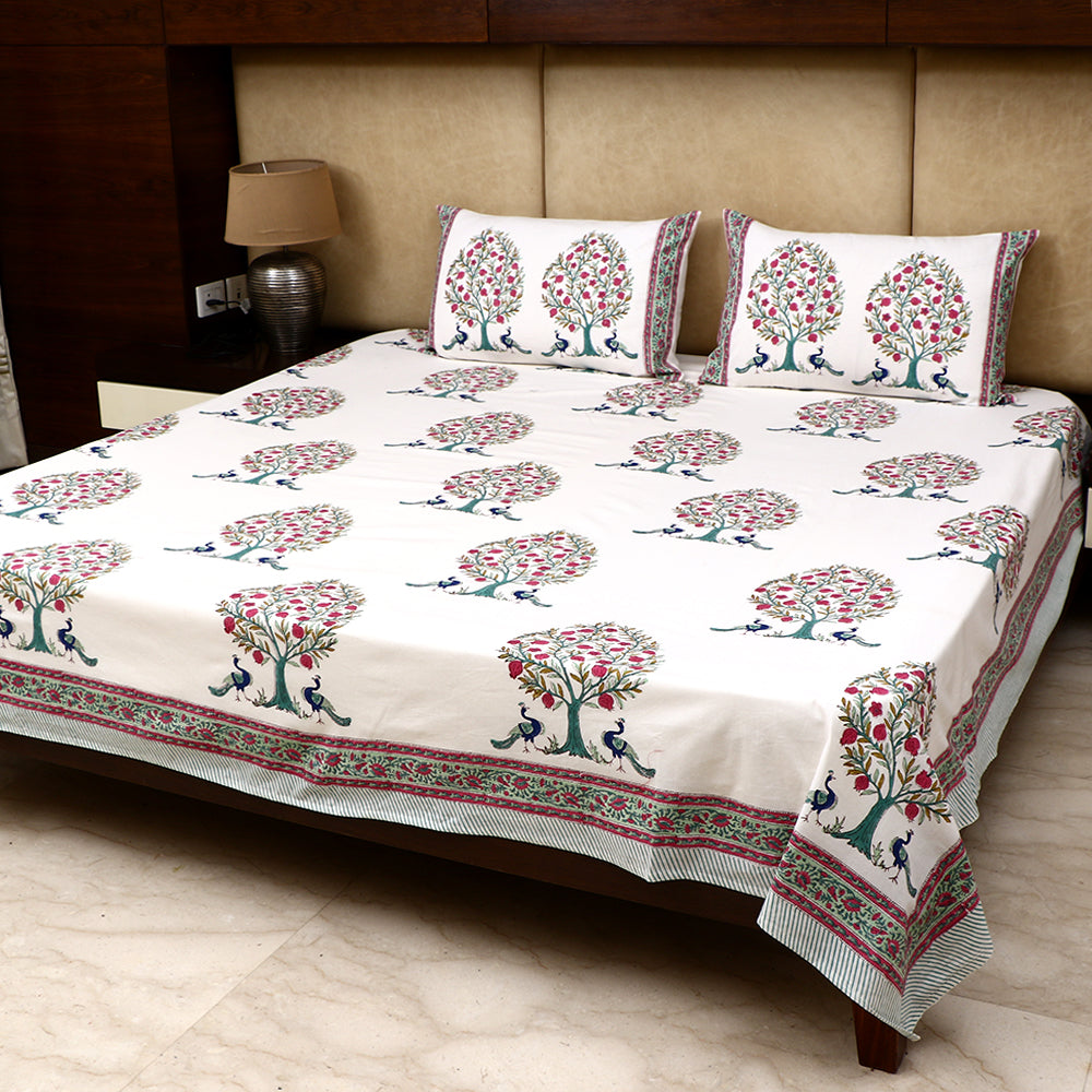 Cotton Bed Sheet - Peacock Series White with Green Border