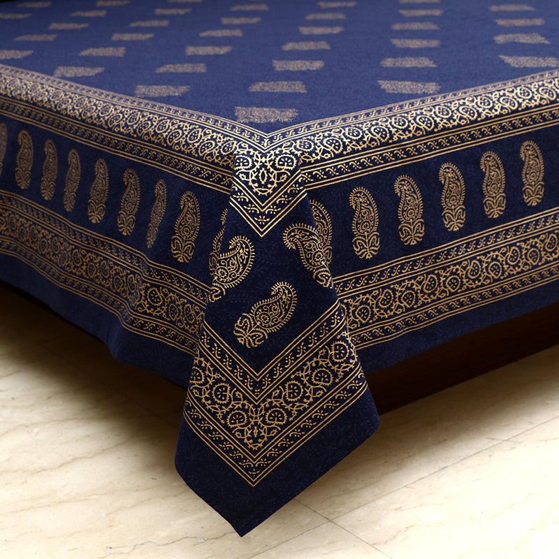 Cotton Bed Sheet - Mughal Gold Blue Ambi Border