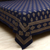 Cotton Bed Sheet - Mughal Gold Blue Foral Motif