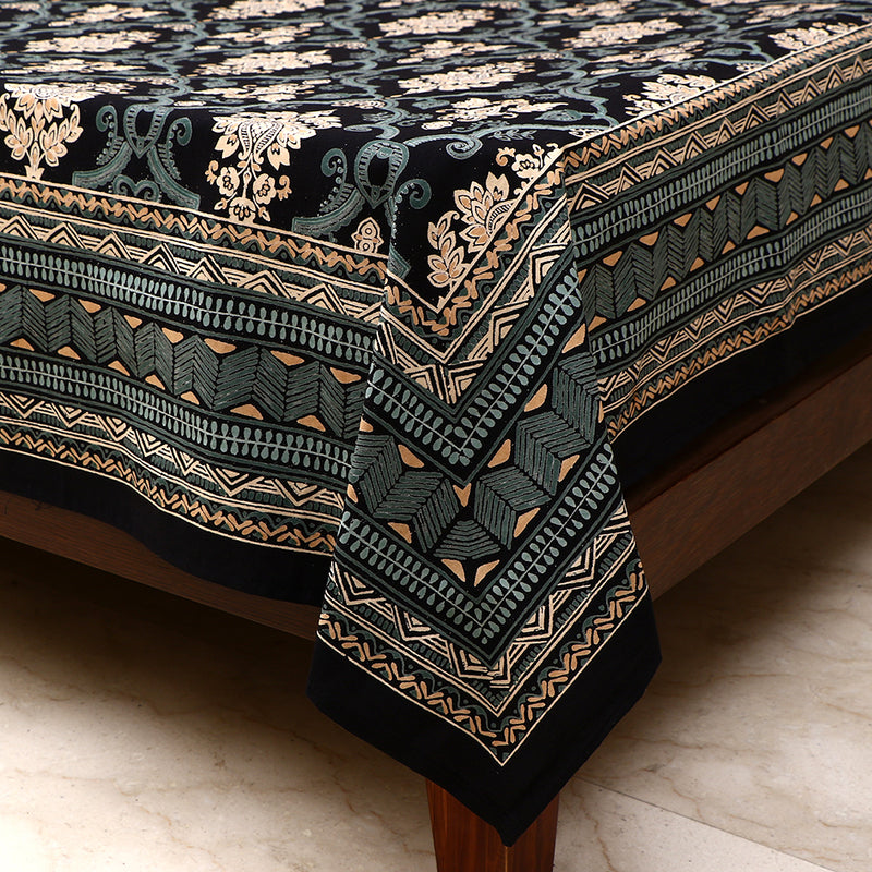Cotton Bed Sheet - Mughal Premium Black Floral Jaal