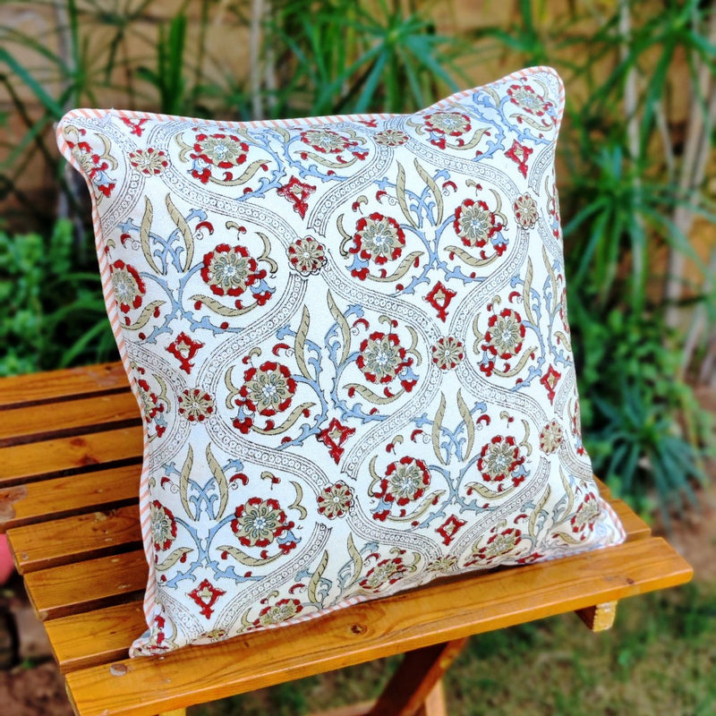 Cotton Cushion Covers - Mughal White Maroon & Light Blue Motif Ambi Border