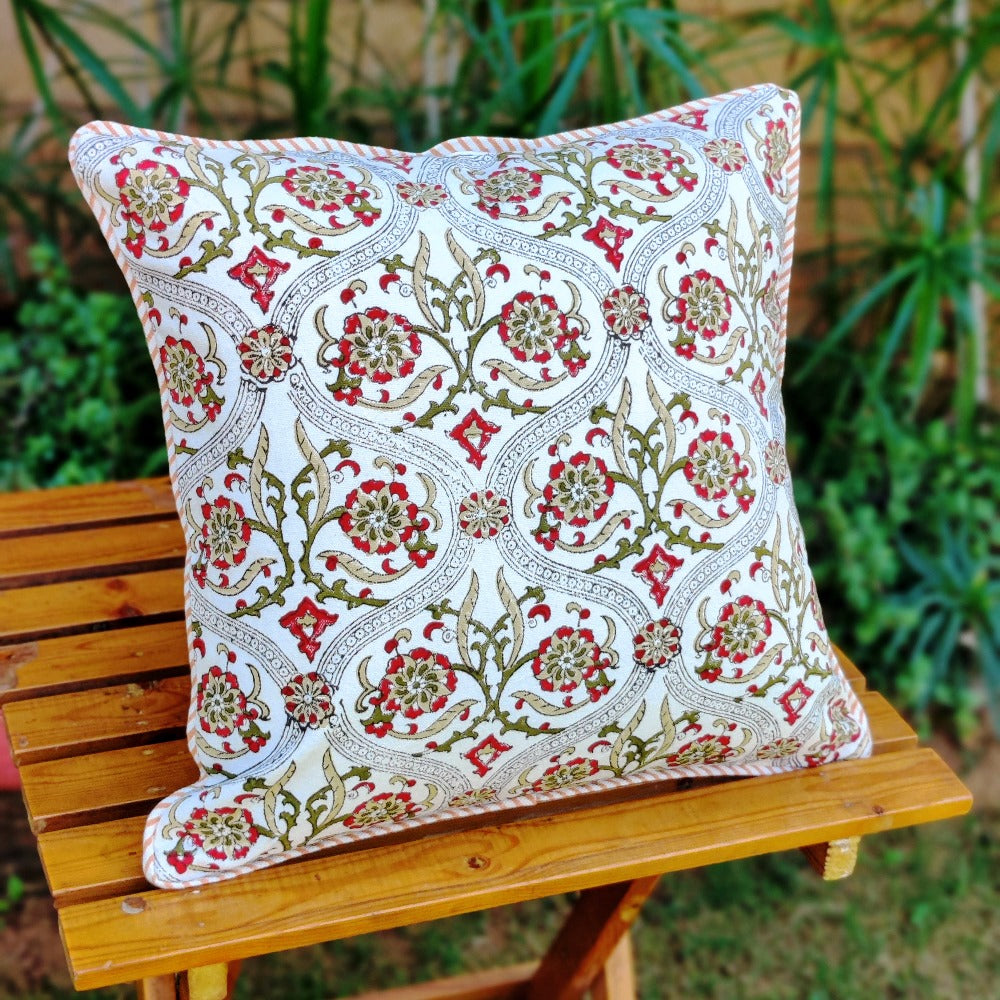 Cotton Cushion Covers - Mughal White Red & Olive Green Motif Ambi Border