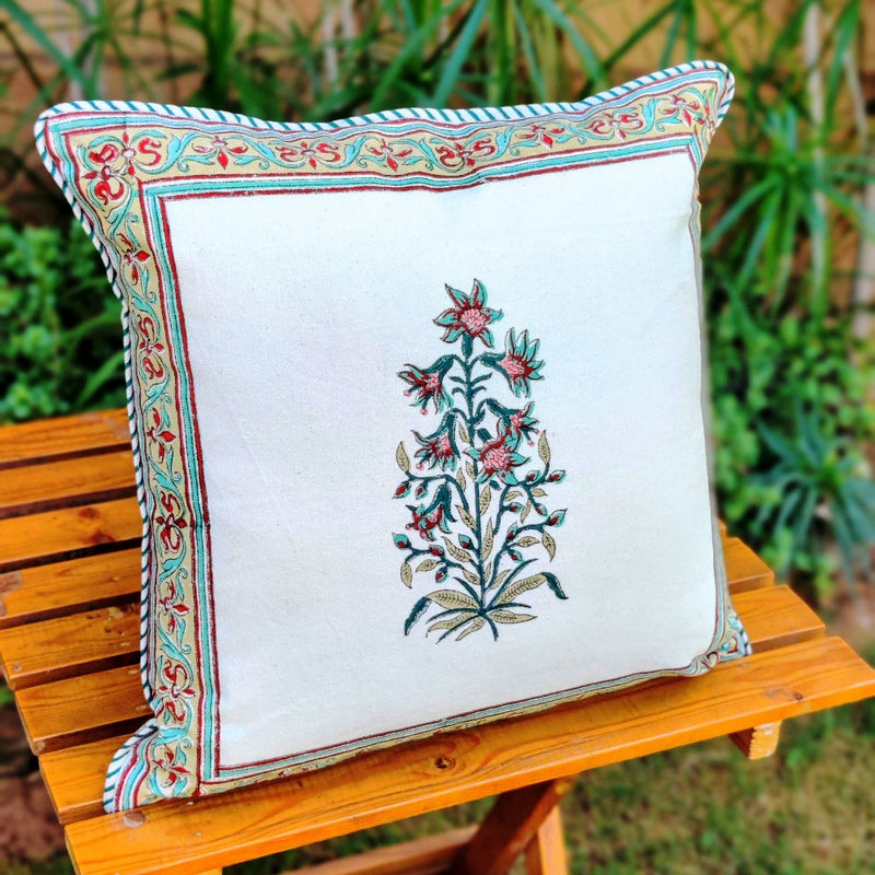Cotton Cushion Covers - Mughal White Turquoise Petals Mustard Border