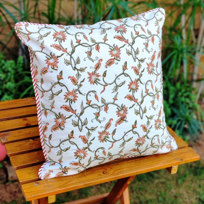 Cotton Cushion Covers - Mughal White Rustic Red Petals Mustard Border