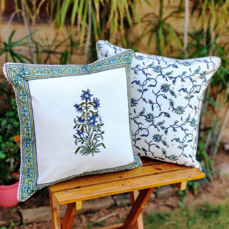Cotton Cushion Covers - Mughal White Blue Petals Turquoise Border
