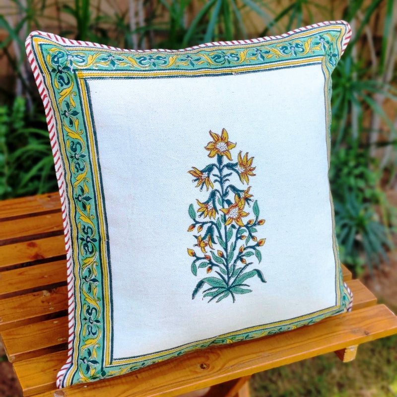 Cotton Cushion Covers - Mughal White Yellow Petals Turquoise Border