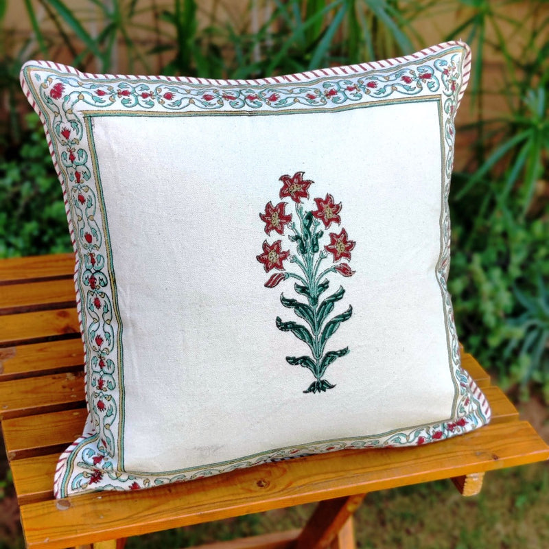 Cotton Cushion Covers - Mughal White Red & Green Flower Motif