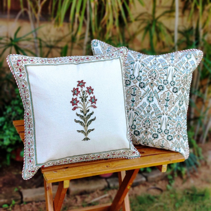 Cotton Cushion Covers - Mughal White Red & Mustard Flower Motif