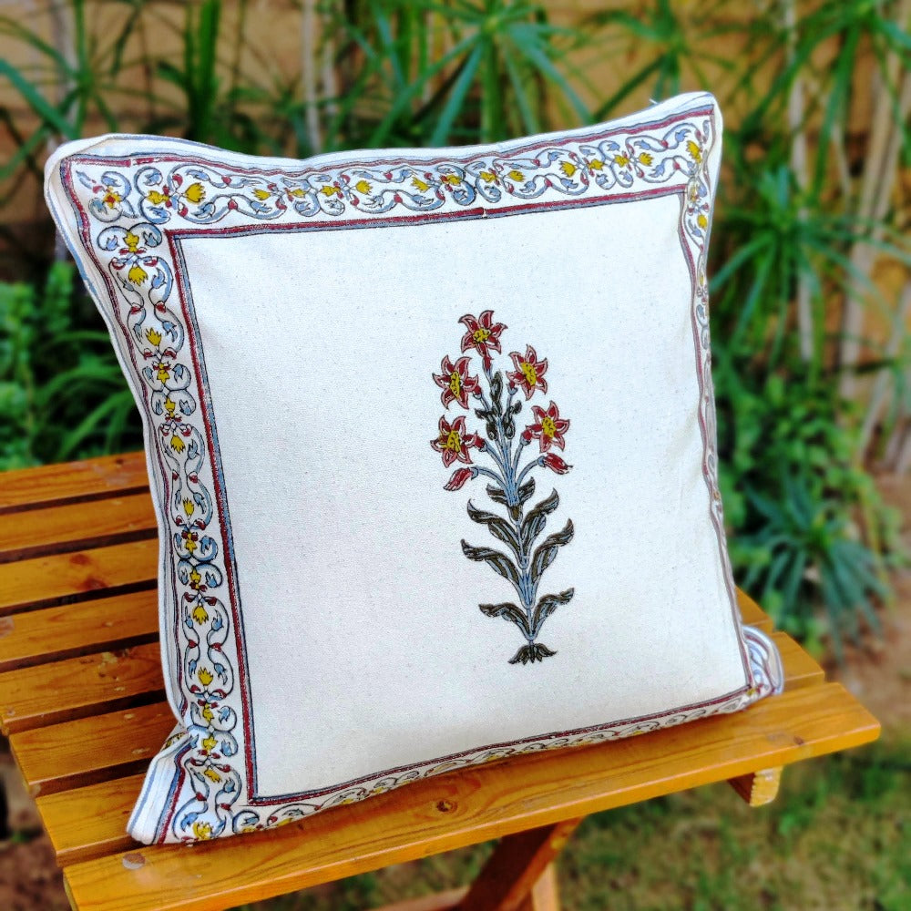 Cotton Cushion Covers - Mughal White Yellow & Mauve Flower Motif