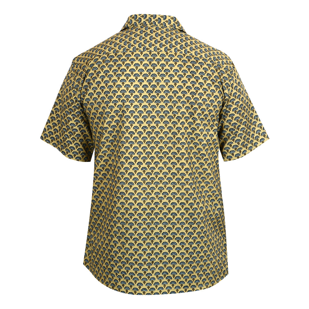 Cotton Short Sleeved Shirt - Deep Olive Green with Blue Motif