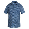 Cotton Men's Short Sleeved Shirt - Indigo Blue with white motif