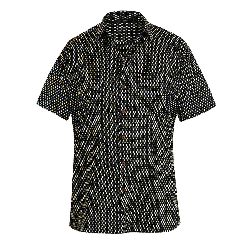 Cotton Short Sleeved Shirt - Black with White Motif