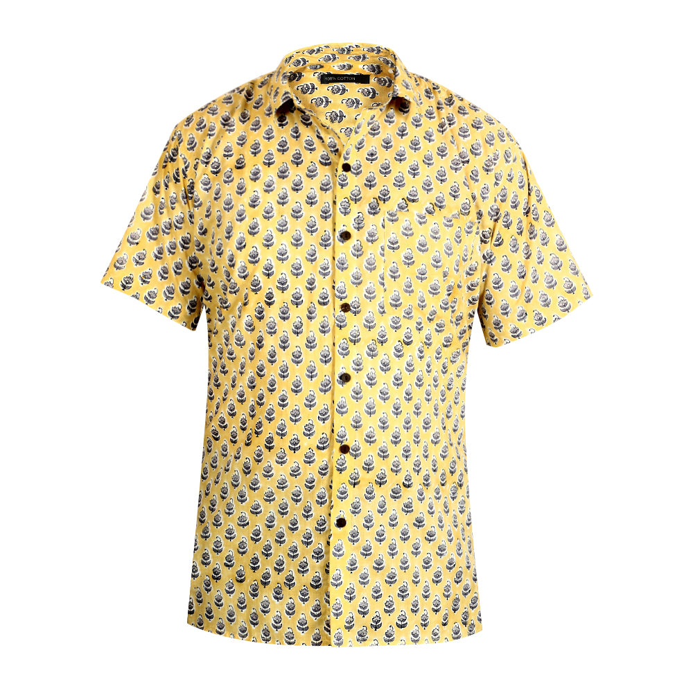 Cotton Short Sleeved Shirt - Yellow with Grey Motif