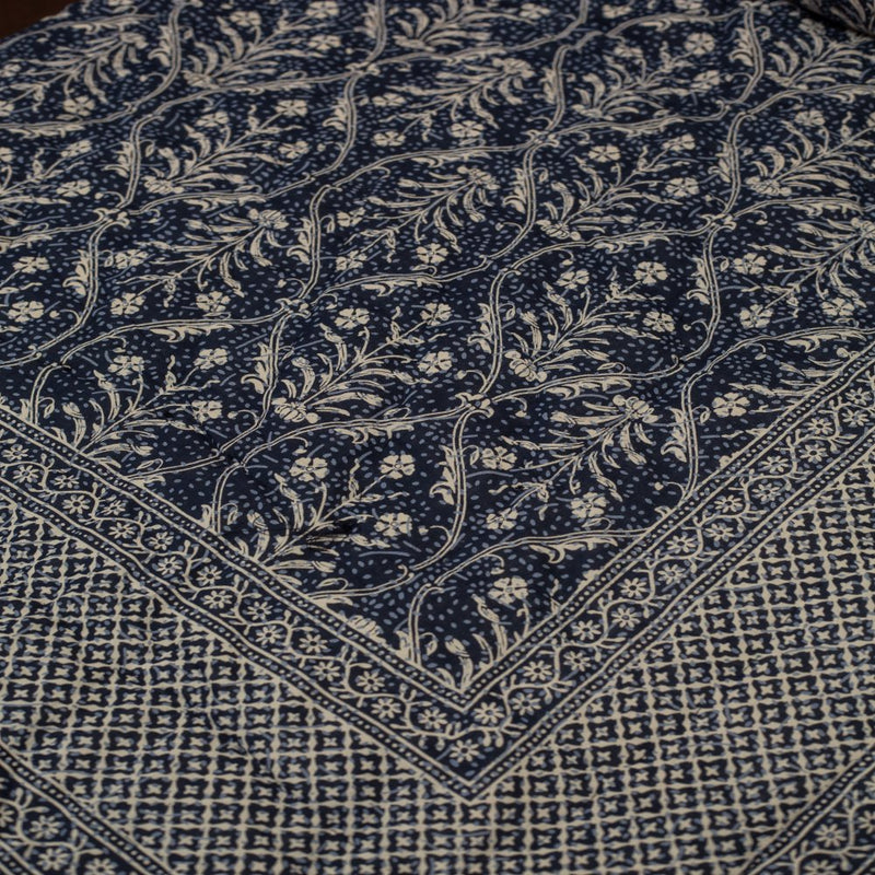 Cotton Quilt - Indigo Blue Jaal Pattern