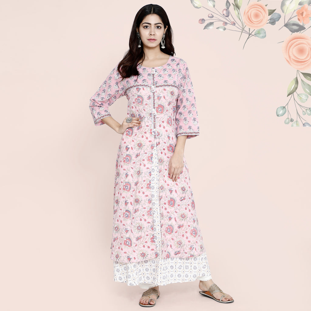 Cotton Kurtis - Long Dress Pink & Beige