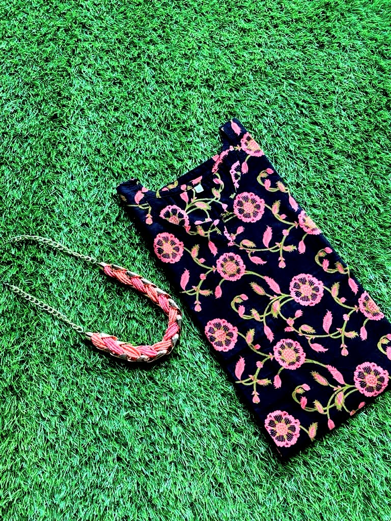 Cotton Kurti - Black & Pink Floral