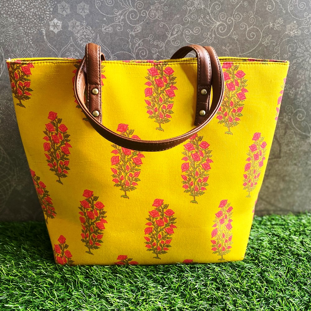 Block Print Tote Bag - Yellow with Floral Motif