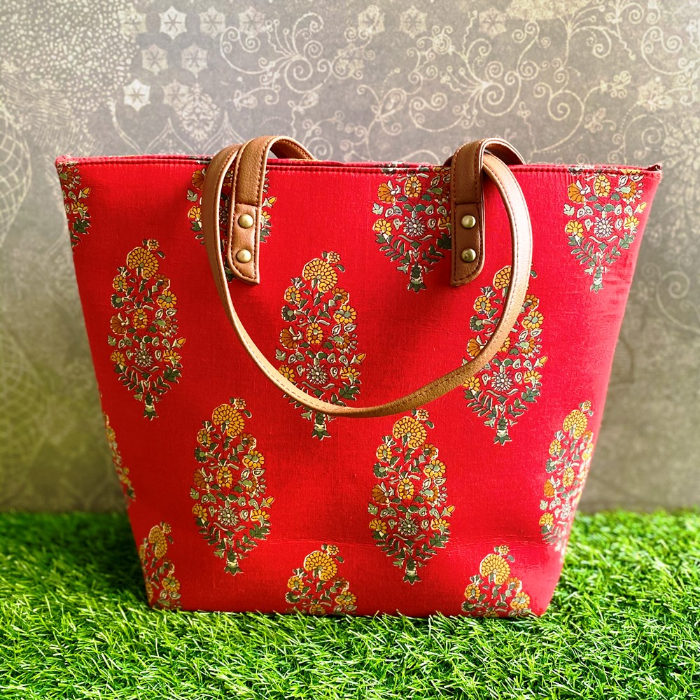 Block Print Tote Bag - Red with Floral Motif