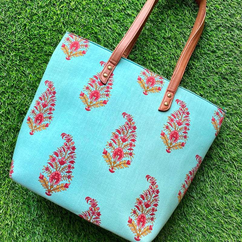 Block Print Tote Bag - Turquoise with Floral Motif