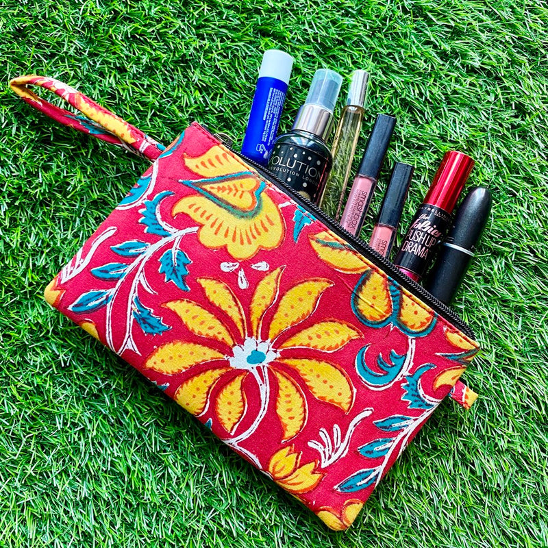 Block Print Utility Pouch - Floral Red