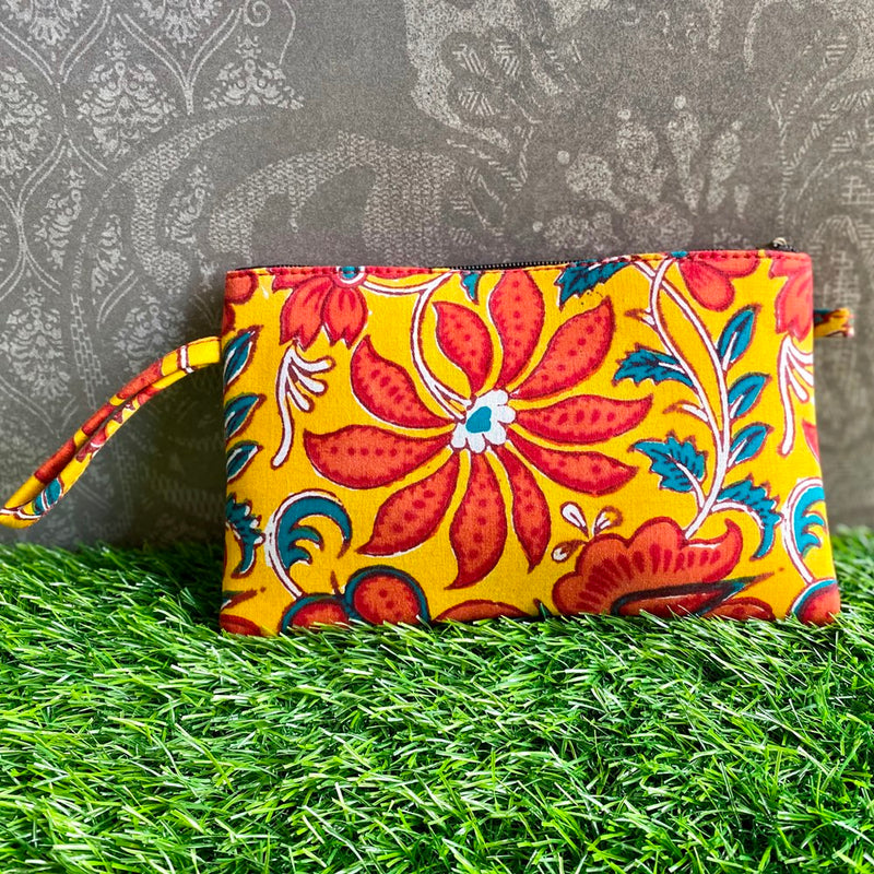 Block Print Utility Pouch - Floral Yellow