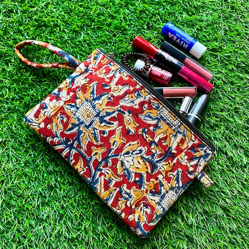 Block Print Utility Pouch - Red & Blue
