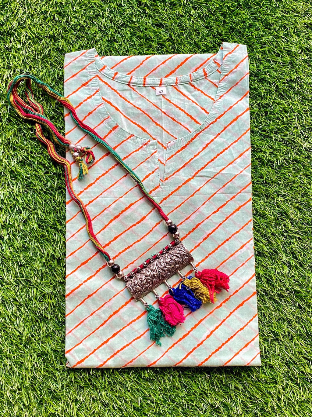 Cotton Kurti - Green & Orange Lehariya