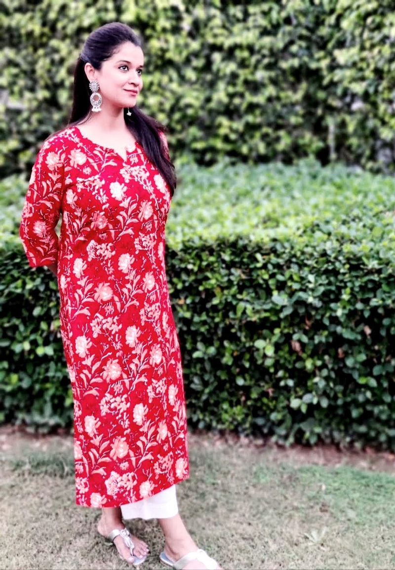 Cotton Kurti - Red Floral