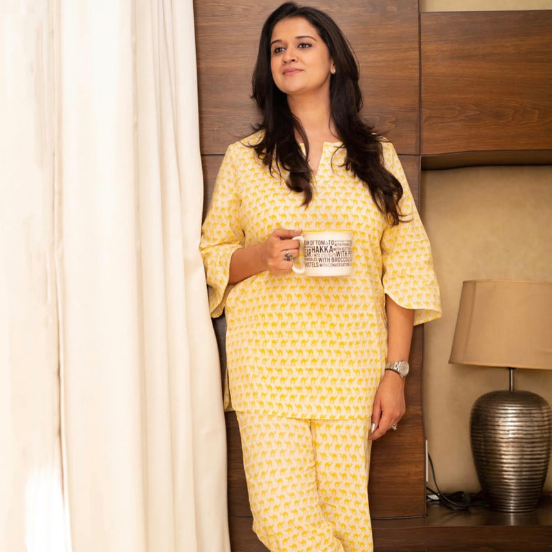 Premium Cotton Home Wear Top Bottom Set - Yellow Elephant
