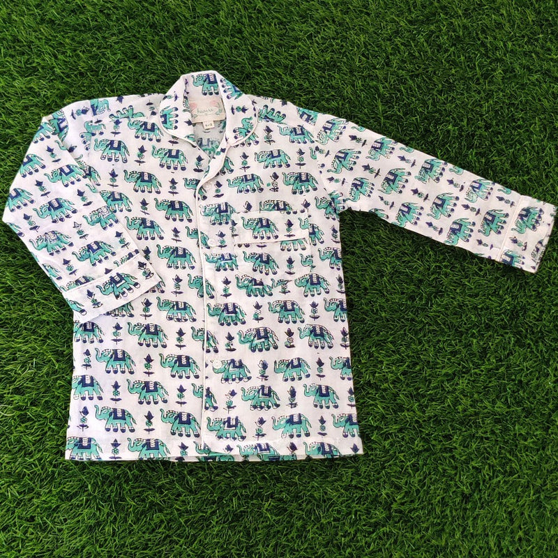 Kid's Night Suits - Green & Blue Elephant