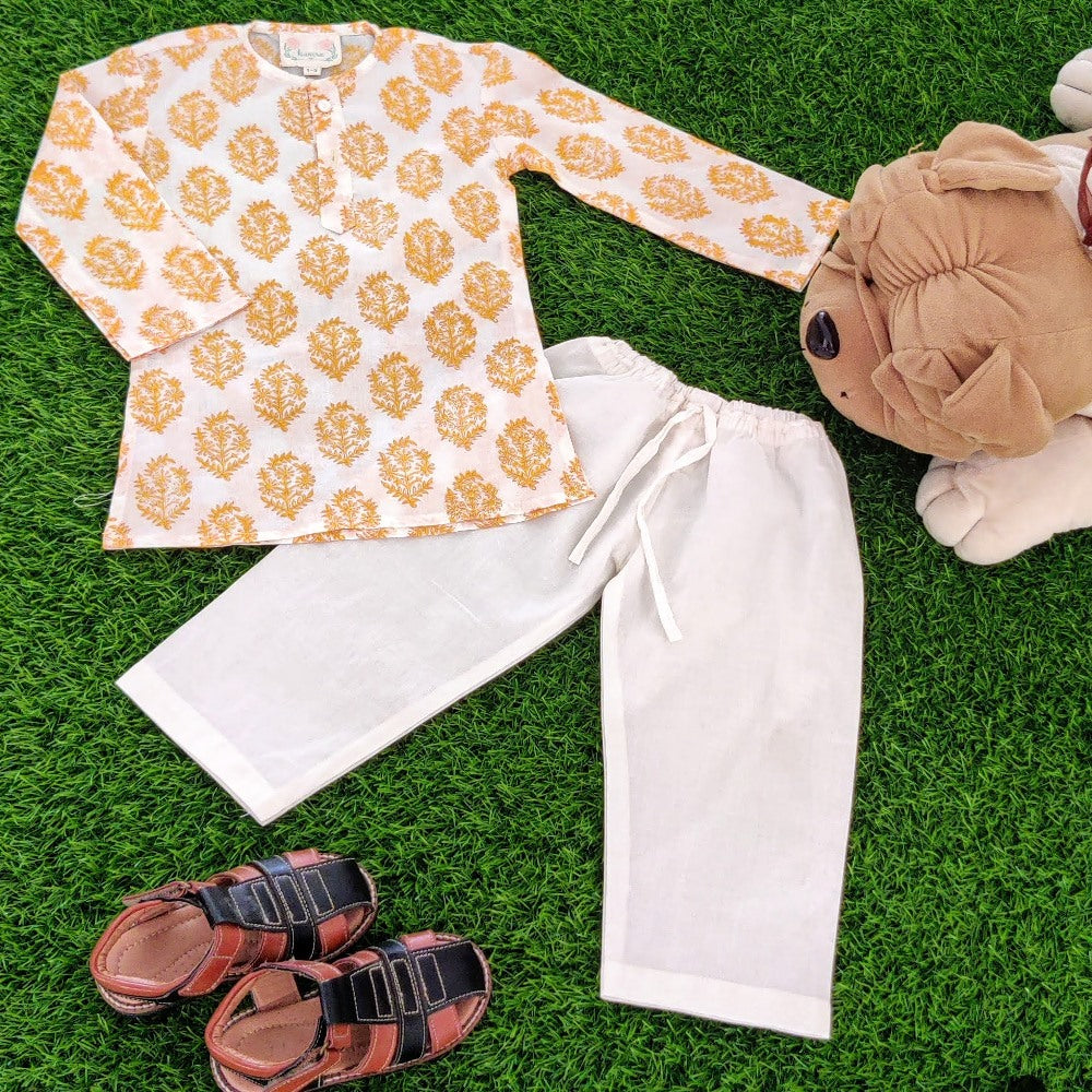 Kid's Kurta Pajama Set - Yellow Floral Motif