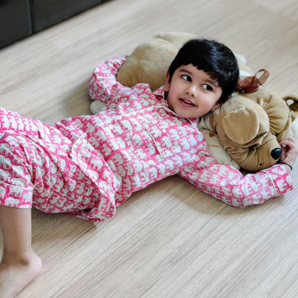 Cotton Kid's Night Suit - Pink Elephant