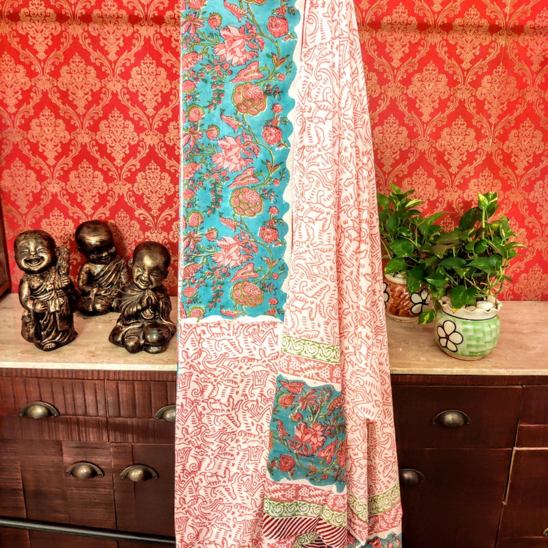 Unstitched Suit Piece - Turquoise Green with Pink Floral Motif with Cotton Dupatta