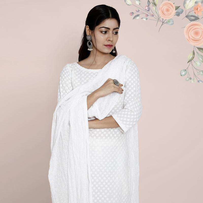 Cotton Dupatta Self Design - White