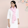 Cotton Dupatta Khadi Work - Baby Pink