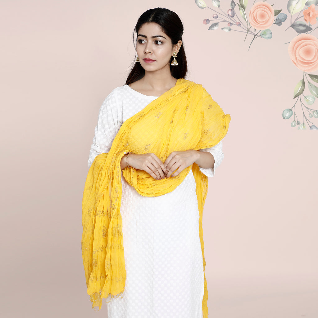 Cotton Dupatta Khadi Work - Mustard Yellow