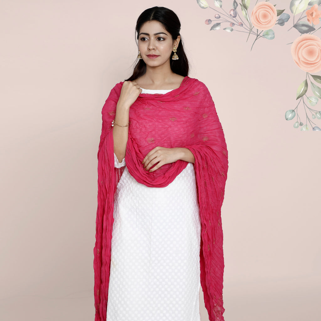 Cotton Dupatta Khadi Work - Rani Pink