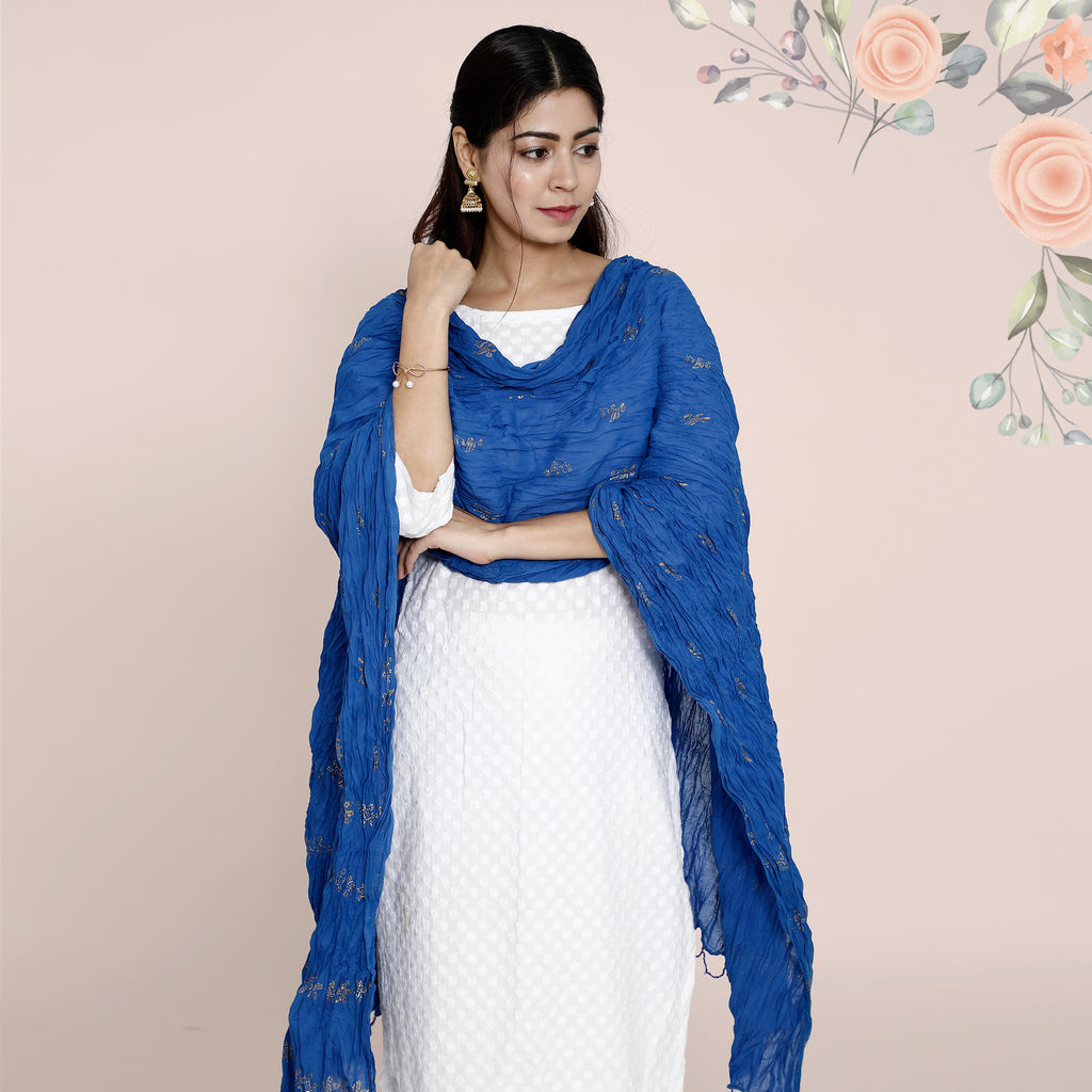 Cotton Dupatta Khadi Work - Royal Blue