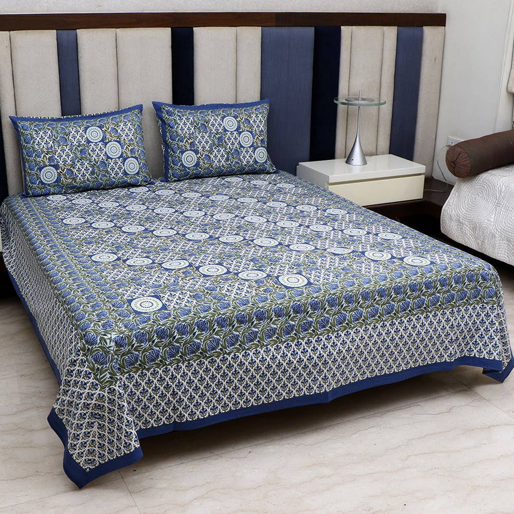 Cotton Bed Sheet - Mughal Jaipur Blue Geometrical Design