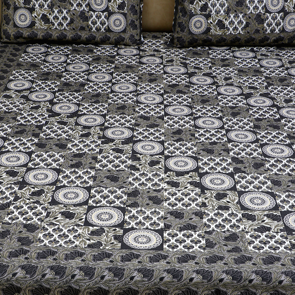Cotton Bed Sheet - Mughal Jaipur Charcoal Geometrical Design