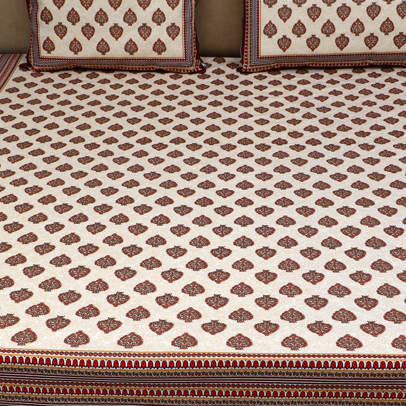 Cotton Bed Sheet - Mughal Jaipur Small Spades Motif with Maroon Border