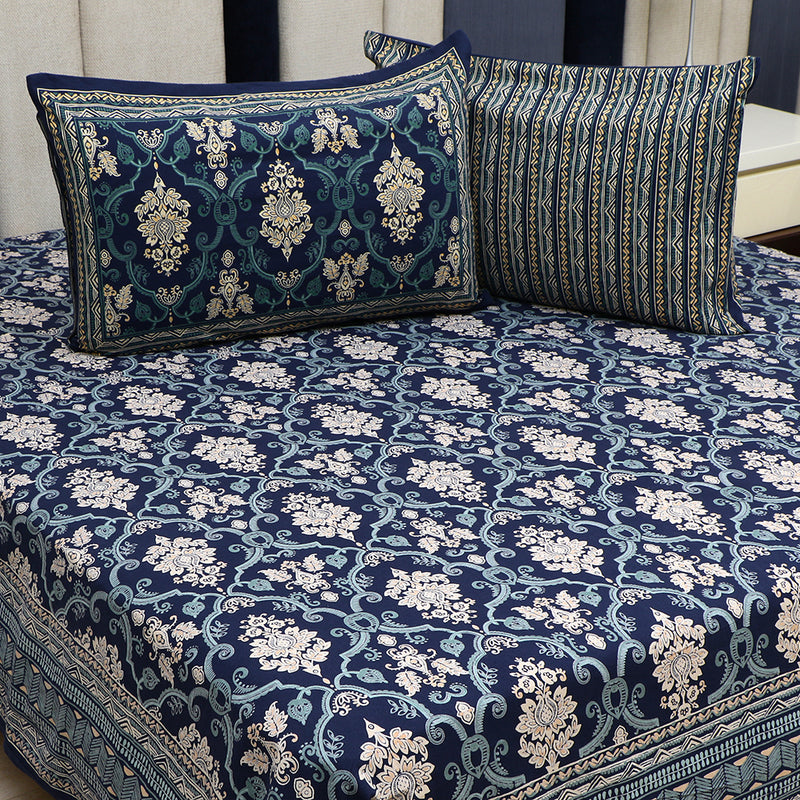 Cotton Bed Sheet - Mughal Premium Blue Floral Jaal