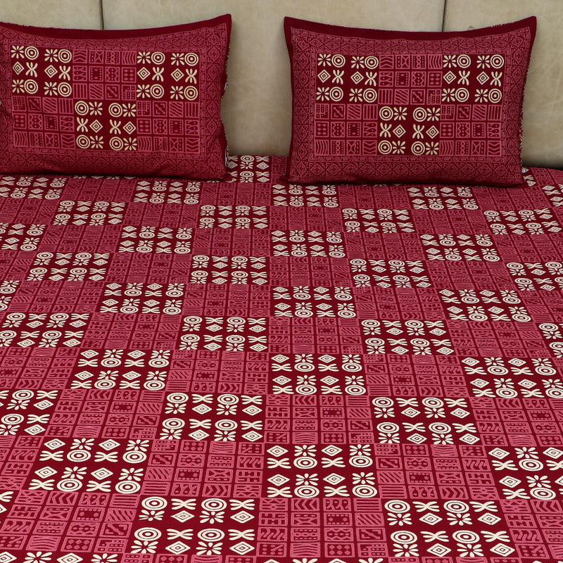 Cotton Bed Sheet - Mughal Premium Maroon Ancient Scripts