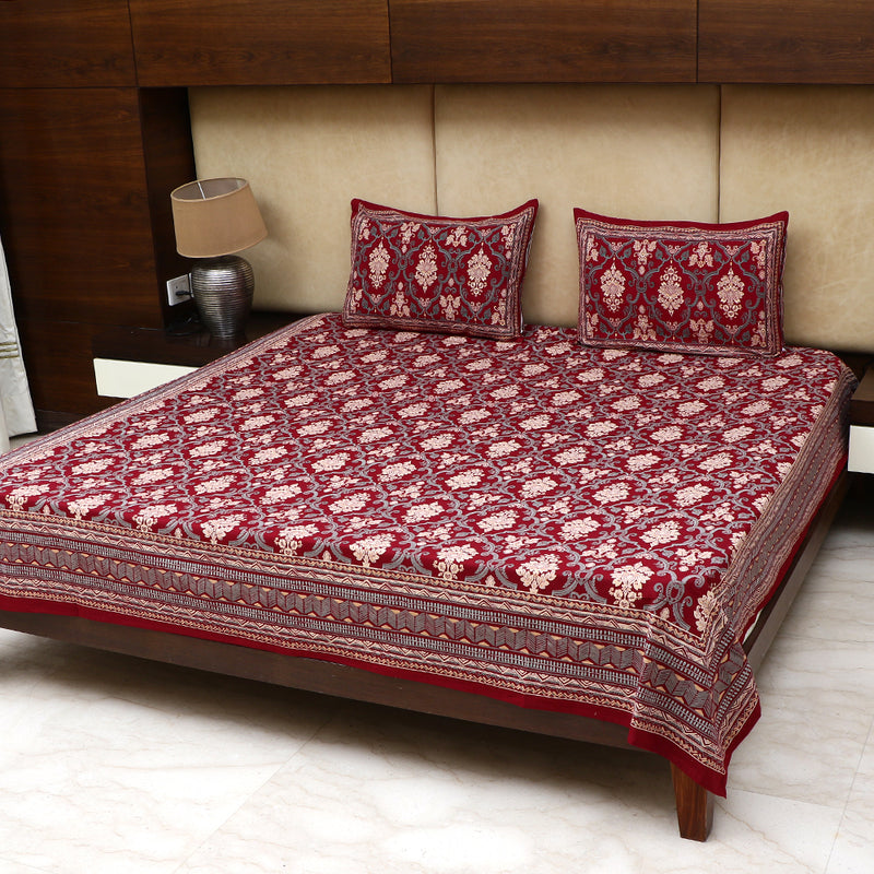 Cotton Bed Sheet - Mughal Premium Maroon Floral Jaal