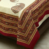 Cotton Bed Sheet - Mughal Jaipur Ambi Motif Maroon Border
