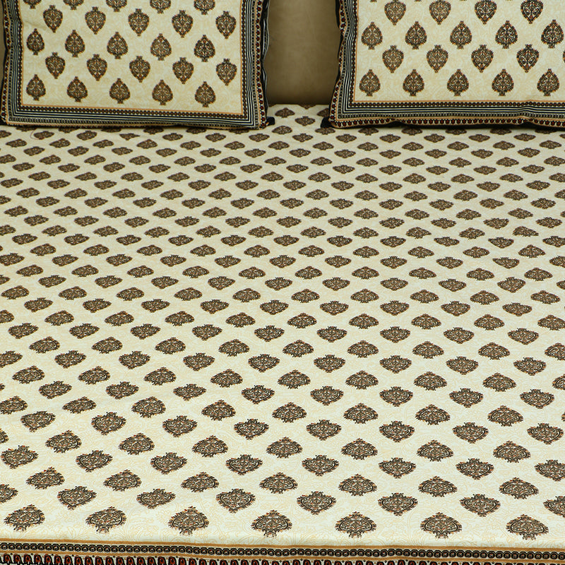 Cotton Bed Sheet - Mughal Jaipur Small Spades with Black Border