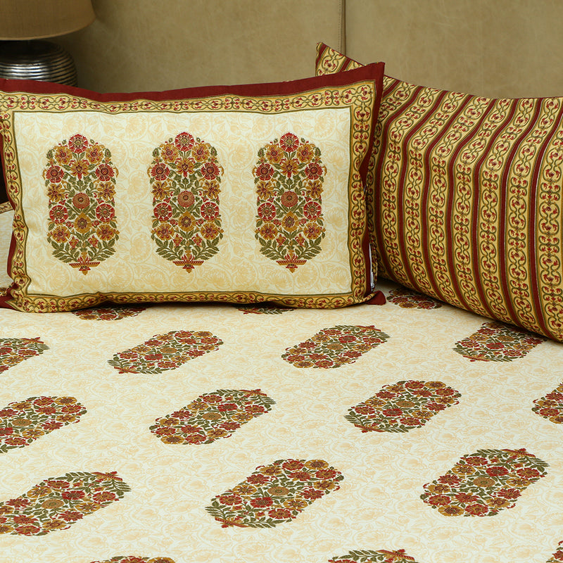 Cotton Bed Sheet - Mughal Exclusive Maroon Border