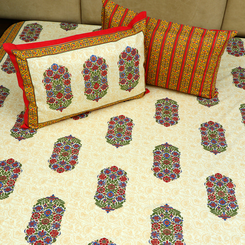 Cotton Bed Sheet - Mughal Exclusive Red Border