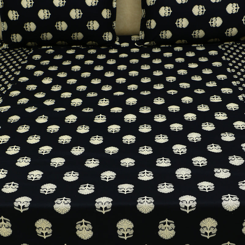 Cotton Bed Sheet - The Black Collection Flower Motif